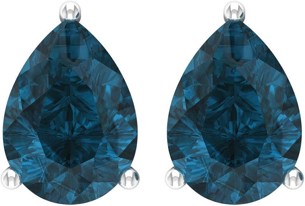 Pendientes Solitaire de 4,60 CT con forma de pera, certificado SGL, con topacio azul, de Londres, con piedras preciosas azules, para madre de cumpleaños, para dama de honor, tornillo hacia atrás