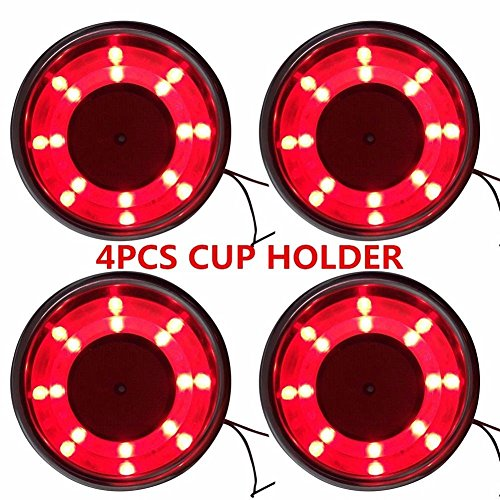 4Pcs Stainless Steel Cup Drink Holder Red 8 LED Built-in For Marine Boat Truck RV