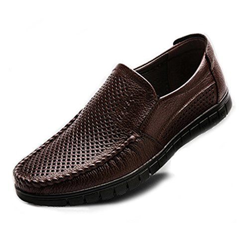 Ruiyue Men Loafers Shoes, Classic Men's Shoes Genuine Leather Slip-on Flat Comfortable Sole Loafer (Perforation Optional) Perforation Dark Bn