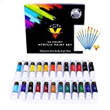 Acrylic Paint Set 24 Colors 12ml Tubes & Free Acrylic Brushes - Acrylic Paint Sets for Artists - Craft & Canvas Paint - Best Quality Acrylic Paint Set Beginners, Kids & Professional Artist