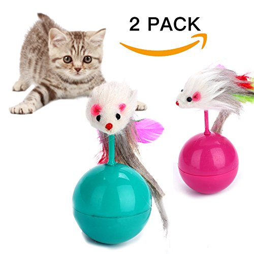 Innovative Life Cat Tumbler Toy,Catnip Mice Toy,Cat Teaser,2 Pack Roly-poly