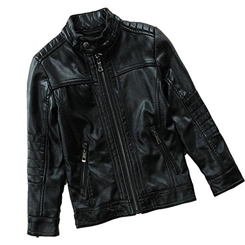 LJYH Spring Big Boy's Stand Collar Motorcylce PU Leather Jacket Black - Big Collar Jacket