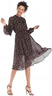 Good dress Vestido de Gasa Floral con Lazo Largo de Otoño e Invierno, Falda Larga Y Suelta, Manga Larga, Columpio Grande, café, m