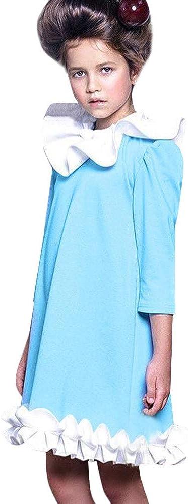 Girls Winter Dress,Kaicran Long Sleeve Ruffles Solid Patchwork Dress Princess Dress for Kids 6M-4T