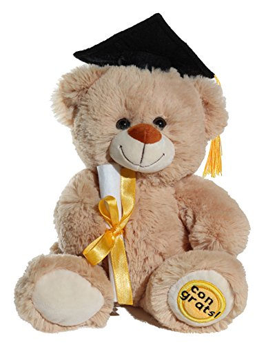 Calplush Fuzzy Beige Graduation Congrats Bear Plush -