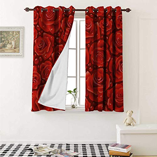 (Flyerer Rose Waterproof Window Curtain Vivid Red Roses Rain Water Drops Graphic Dewy Meadows Inspired Romantic Pattern Curtains for Party Decoration W84 x L72 Inch Ruby Vermilion)