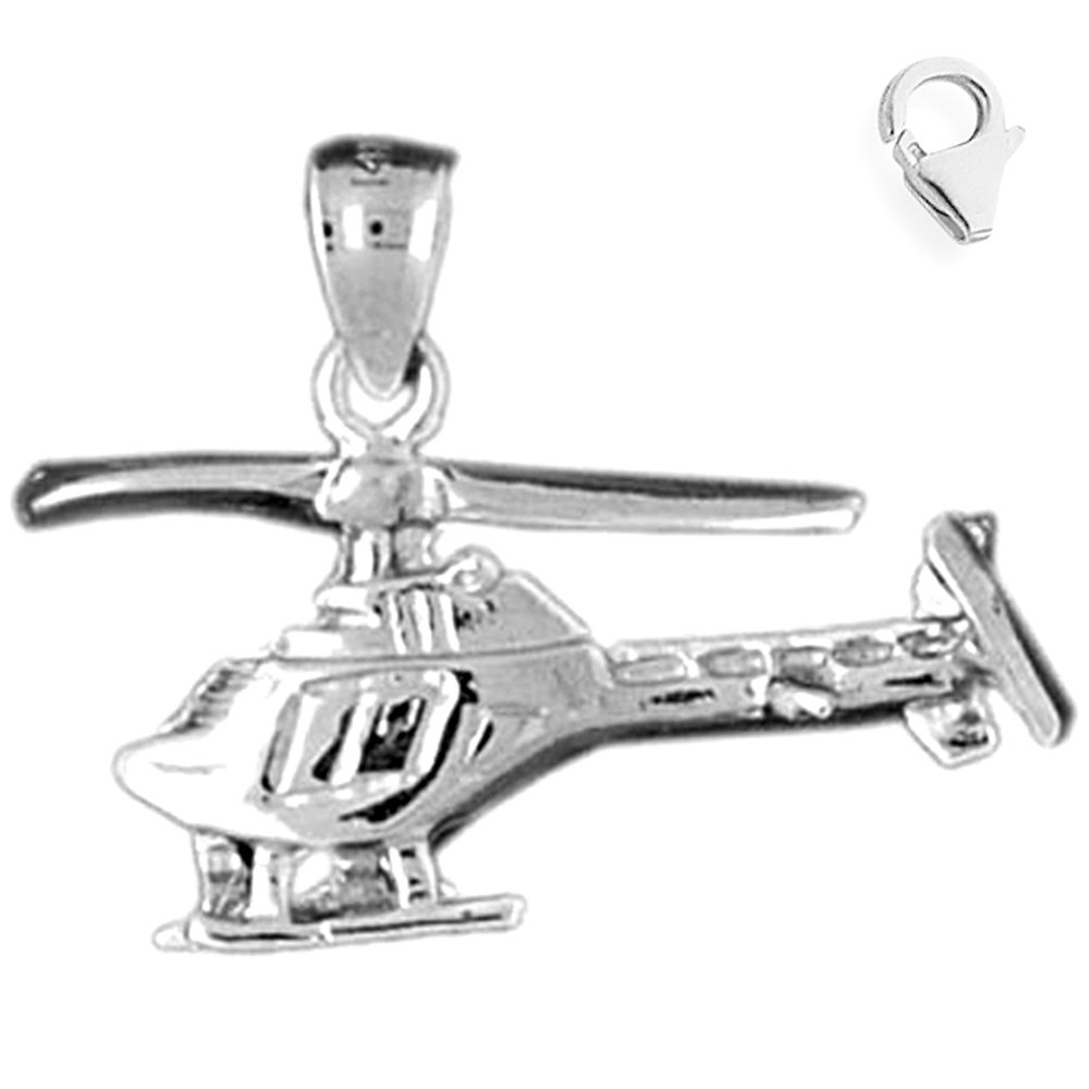 Jewels Obsession Helicopter Pendant Sterling Silver 21mm Helicopter with 7.5 Charm Bracelet