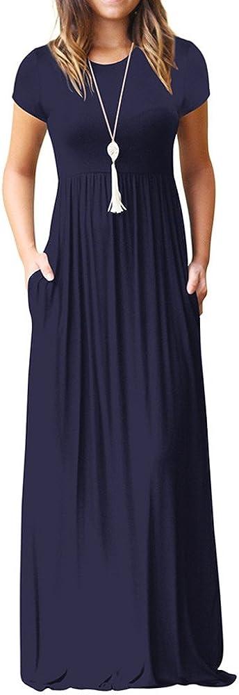 Anglewolf Womens Summer Floral Print Long Sleeveless V-Neck Cocktail Dress,Womens Needra Maxi Casual Party Dress,Long//Short Sleeve Maxi Dress with Pockets