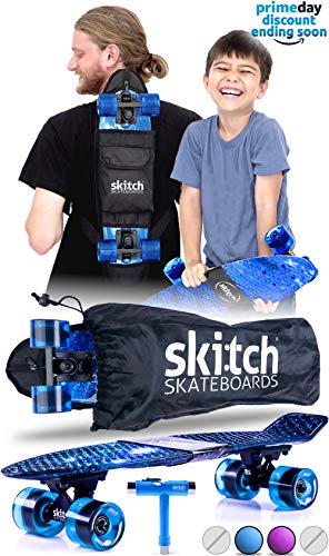 Skitch Complete Skateboards Gift Set for Beginners Boys and Girls of All Ages with 22 Inch Mini Cruiser Board + Skateboard Backpack + Skate Tool + Tote Bag (Blue Galaxy)