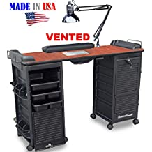 B607 VENTED Filtered Manicure Nail Table Double Lockable Cabinet Cherry Top by Dina Meri