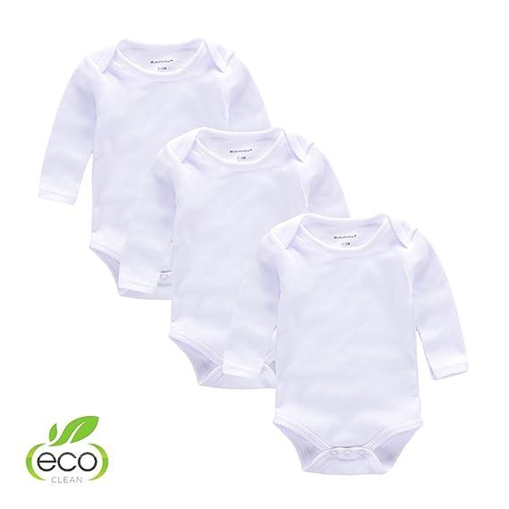 c669b1d00 Baby Body suit 3pcs Long Sleeve Newborn Mom Unisex Pajamas White Bodysuit(0-3):  Amazon.in: Clothing & Accessories