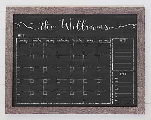 - Chalkboard Calendar, 24x18 Horizontal Framed Dry Erase Calendar, Free Customization, Reusable 18x24 Customized Dry Erase Wall Calendar, Family Framed Calendar, perpetual calendar