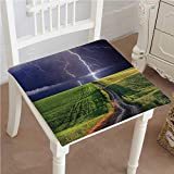 Mikihome Dining Chair Pad Cushion About to Appear with Flash on The Field Solar Illumination Energy Green Blue Fashions Indoor/Outdoor Bistro Chair Cushion 14''x14''x2pcs
