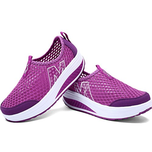 Shoes Fitness Sneakers Lightweight Slip Orlancy Walking Purple Wedge On Sports Mesh Women's 11 Size US4 8xwnnpqf4I