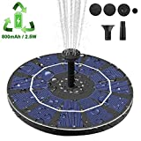 【Latest Upgrade】Viajero 2.5W Solar Fountain Pump for Bird Bath with 800mAh Battery Backup, Free Standing Portable Floating Solar Powered Water Fountain Pump for Garden Backyard Pond Pool Outdoor