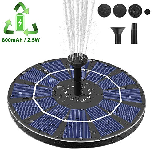 【Latest Upgrade】Viajero 2.5W Solar Fountain Pump for Bird Bath with 800mAh Battery Backup, Free Standing Portable Floating Solar Powered Water Fountain Pump for Garden Backyard Pond Pool Outdoor ()