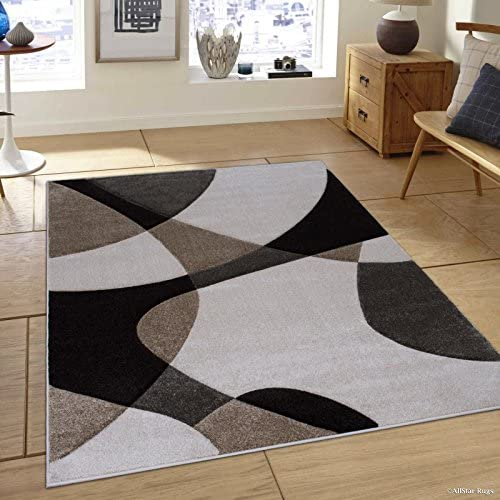 Allstar 5×7 Ivory Modern and Contemporary Hand Carved Rectangular Accent Rug with Mocha and Espresso Abstract Overlapping Curves Design 5 2 x 7 1