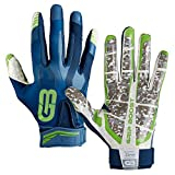 Grip Boost Stealth Football Gloves Pro Elite (Navy Blue/Green, Youth Large)