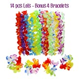 Hawaiian Leis Luau Party Decorations - Tropical Hawaii Silk Flower Necklace - Hula Luau Beach Pool Party Theme Accessories - for Birthday and Graduation Day Celebration (14 Pieces plus 4 Bracelets)