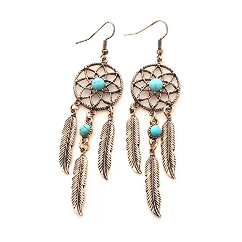 Dreamcatcher Feather Earrings (Peony.T Women' Girls' Bohemia Tribal Vintage Dangle Earrings With Turquoise Bead Inlay Nickel Free (Deamcatcher 2-Gold))