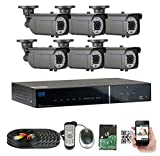GWSecurity 8CH400WHD 8 Channel DVR + 6 x 1200TVL (720P) Vari-Focal Zoom 180 feet IR Outdoor / Indoor Security Camera System with Pre-Installed 1TB Hard Drive