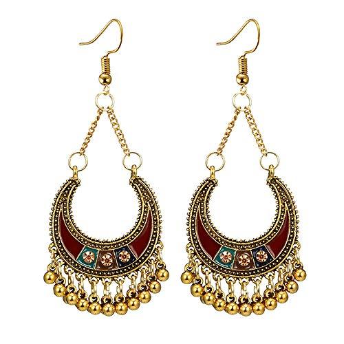 Kimloog Bohemian Dangle Earrings, Ethnic Vintage Rhinestone C Semi-Circle Bells Tassel Earring - Dangle Bell Wedding