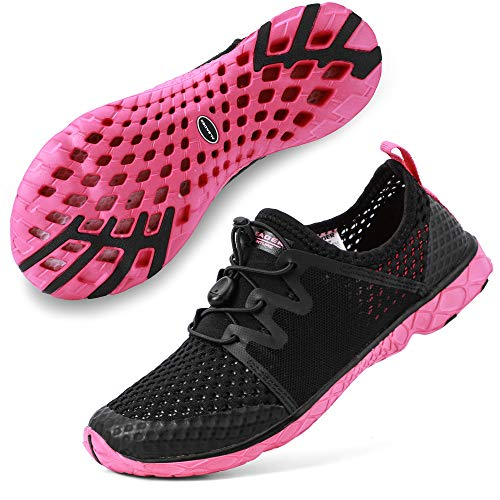 ALEADER Womens Quick Dry Water Shoes for Walking, Hike, Campe, Run, Swim Black/Fushia 8.5 B(M) US