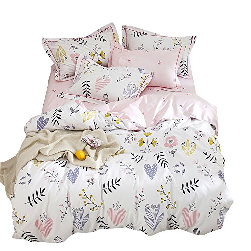 (OTOB Soft Cartoon Plant Flower Print Girls Twin Bedding Duvet Cover Sets Cotton 100 Percent for Kids Toddler Teen Women Colorful Floral Reversible Teen Bedding Sets Twin Pink)