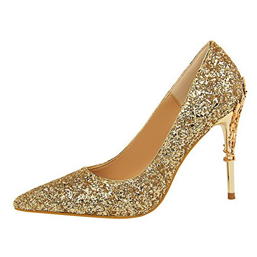 Women's Heels Pull Toe Pumps Sequins Solid Gold On High WeiPoot Pointed Shoes San1xda