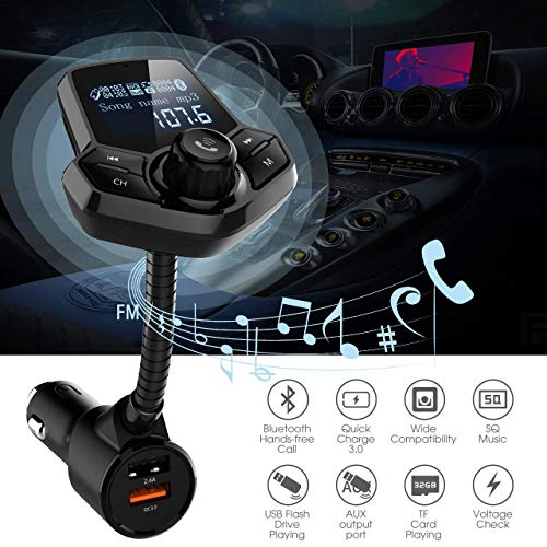in-Car Bluetooth FM Transmitter Wireless Radio Adapter Hands-Free Car Kit with 1.44 Inches Display TF Card Mp3 Player Dual USB Ports AUX Input/Output Voltmeter Function for Smart Phones Audio Players by JFONG (Image #1)