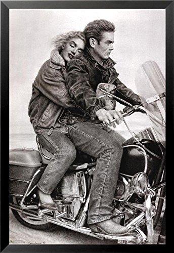 - Buyartforless Framed James Dean & Marilyn Monroe (Motorcycle) 24x36 Movie Art Print Poster Romantic