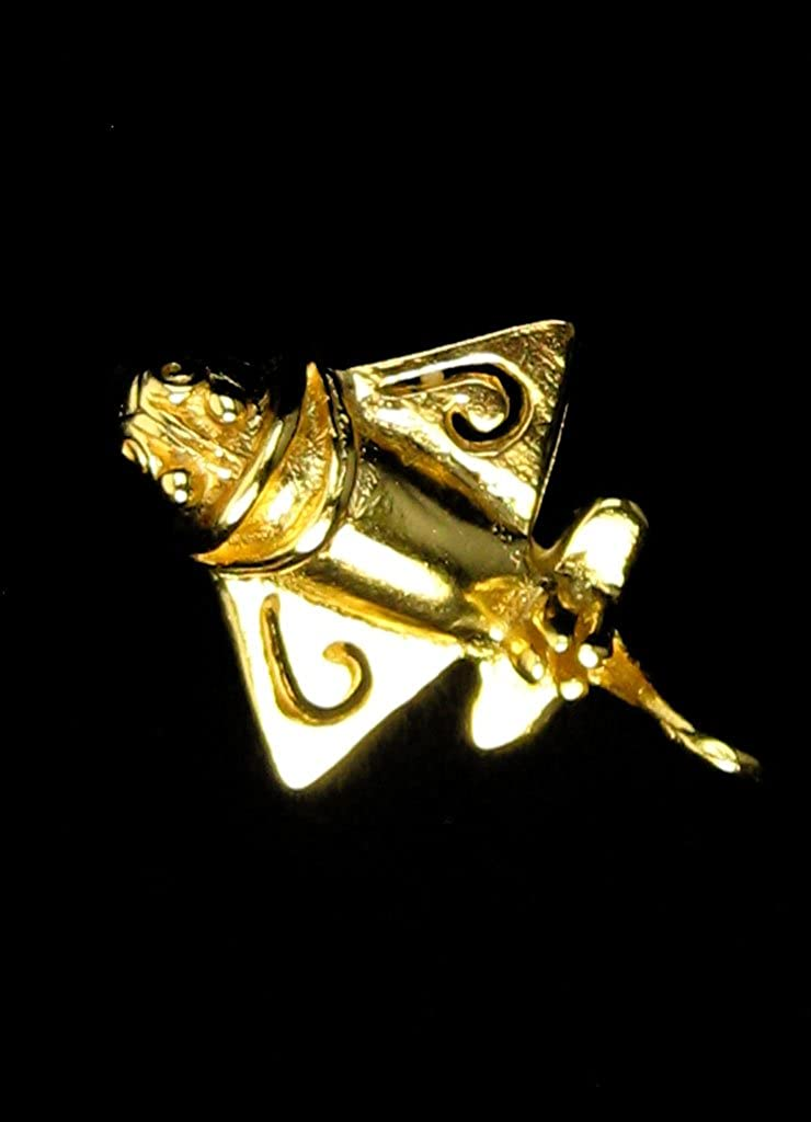 Across The Puddle Ancient Aircraft-3 24k Gold Plated Pre-Columbian Quimbaya Golden Jet-3 Ancient Aliens Jewelry Collection Golden Flyer-3 Stick Lapel Pin