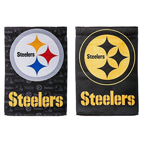 NFL Pittsburgh Steelers Suede Two Sided Glitter Embellished Garden Flag, Medium, - Pembroke Gardens Shops