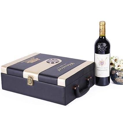 Amazon Com Wine Gift Box Pu Leather Portable Wine Box 2 Bottle