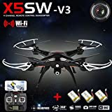 SYMA X5SW-V3 WiFi FPV 2.4Ghz Quadcopter Drone HD Camera RTF +3 Batteries Black