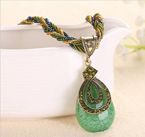 A&C Chic Lovely Bohemia Necklace Jewelry Necklaces for Women, Drop Resin Glass Chain Bib Necklace Pendant for Girl.