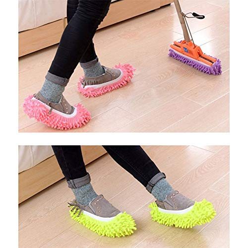 Paire Clean Chenille Chaussures Zycx123 Poussière Mop Couvre Lazy Multifonctions Room 1 chaussures Lippers Rouge Nettoyage gwqXS