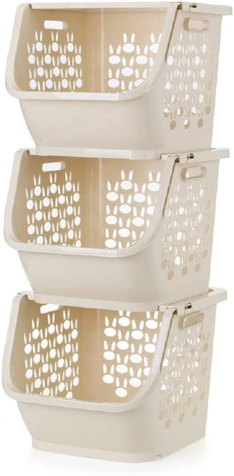 QsunQ 3-Set Stackable Storage Bins with Lids for Kitchen,Bathrooms,Bedrooms,Closets, Cabinets. Household Plastic Organization Baskets for Pantry. Storage Organizer Bin Basket (12x11x10inch) Beige