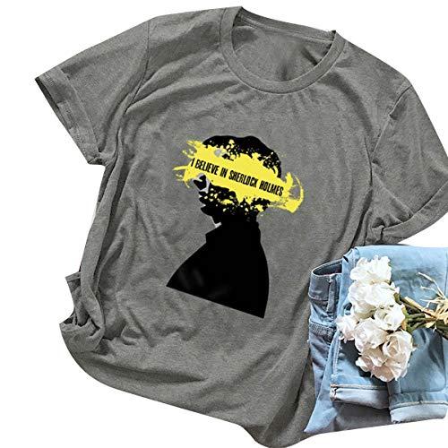 Donna Corta shirt In Che collo Print Gray T Holmes Sherlock Credo Tees Manica O qHTwB0w