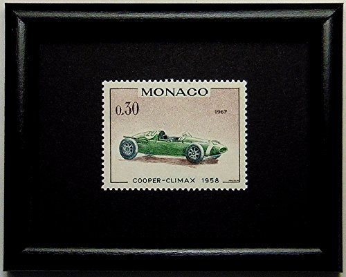 Vintage racing car -Cooper-Climax 1958 -Monaco -Framed Postage Stamp Art 10482