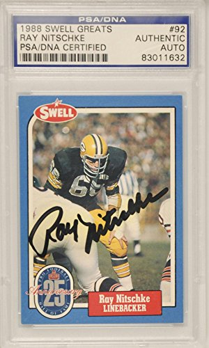 Ray Nitschke Green Bay Packers - Ray Nitschke Green Bay Packers Autographed 1988 Swell Card - PSA/DNA Certified - NFL Autographed Football Cards