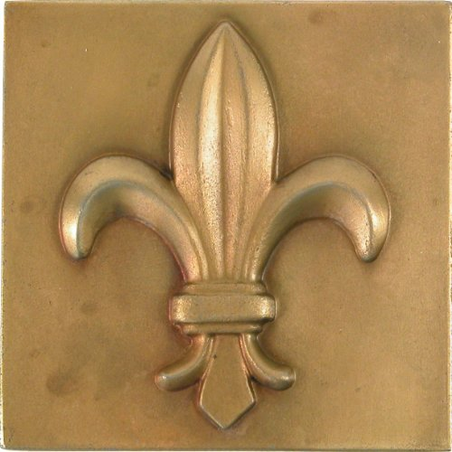 Brass Elegans 27FL-AB Fluer De Lis Design Solid Metal 4-Inch X 4-Inch Accent Tile, Durable Antique Brass ()