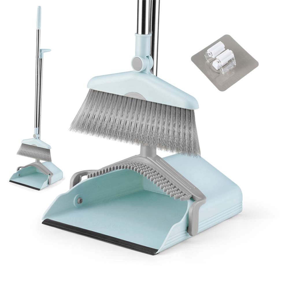 Dust Pan Sweep Set and Broom/Dustpan Cleans Broom Combo with Long Handle Broom Organizer for Home Kitchen Room Office Lobby Floor Use Upright Stand up Dustpan Broom Set