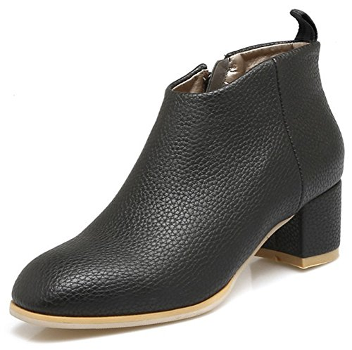 Aisun Womens Dressy Simple Inside Zip Up Square Toe Booties Chunky Mid Heels Ankle Boots With Zipper Black PepGCMOO