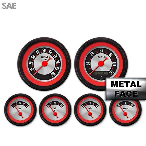 Red Ring Face, Red Classic Needles, Black Bezels Aurora Instruments 4054 American Retro Rodder 6-Gauge Set