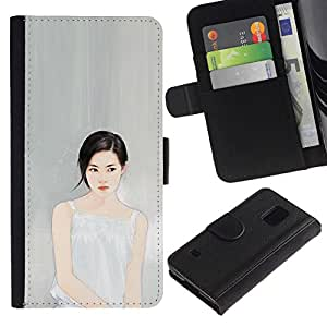 All Phone Most Case / Oferta Especial Cáscara Funda de cuero Monedero Cubierta de proteccion Caso / Wallet Case for Samsung Galaxy S5 V SM-G900 // Deep Thinking Portrait Grey Gray Fashion
