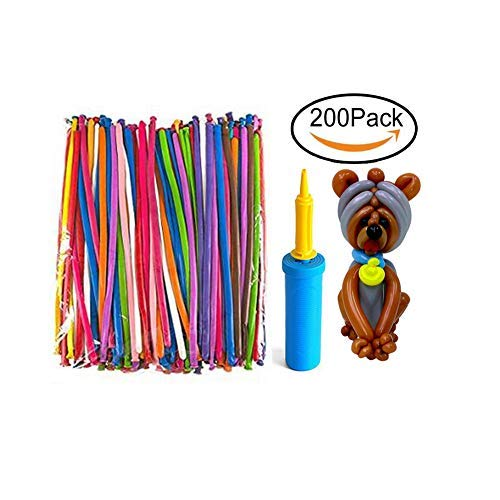 Mairola Balloon Animals Kit Twisting Balloons with Pump 200 Pack of 260Q Latex Long Balloons for Party Birthday Decoration ()