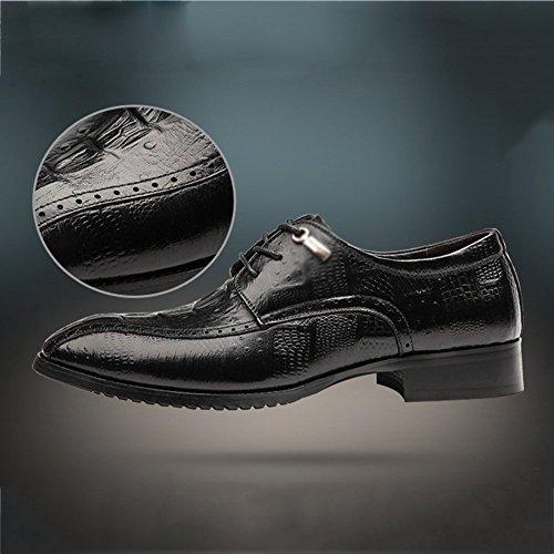 Chaussures Cuir Mariage Bullock Mode Britanniques en Affaires Dentelle LYZGF Occasionnels Hommes Black nxCFw8q