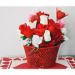 Valentine Day Decor, Valentine Basket, Floral Arrangement, Valentines gift, Roses, Table Decoration, Hugs & Kisses, Ready to Ship!