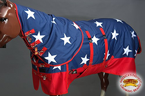 HILASON 78'' 1200D Waterproof Winter Horse Blanket Neck Cover Belly WRAP US Flag by HILASON (Image #3)